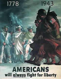 Американский плакат «Американцы всегда будут бороться за свободу!»